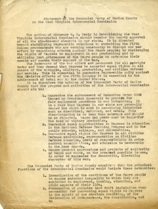 Statement of the Communist Party of Marion County on the West Virginia Inter-racial Commission