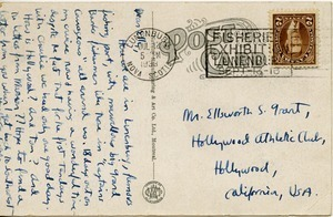 Postcard from Ellsworth Strong Grant to Caleb Foote