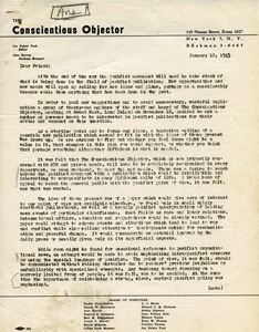 Letter from Conscientious Objector to 'Friend'