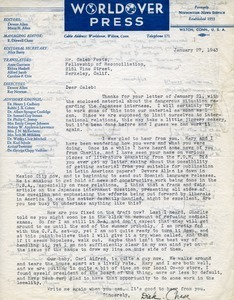 Letter from Dick Chase to Caleb Foote