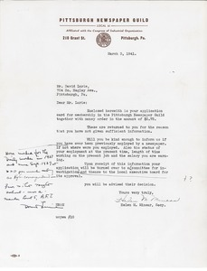 Letter from Helen M. MInear to David Lurie