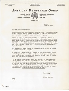 Letter from Milton Kaufman to Local Presidents, American Newspaper Guild
