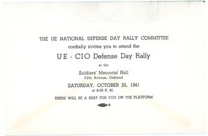 The UE National Defense Day Rally Committee cordially invites you to attend the UE-CIO Defense Day Rally