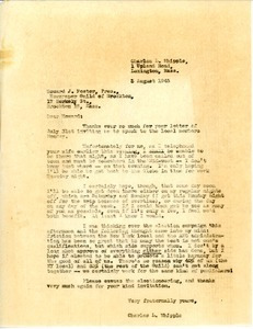 Letter from Charles L. Whipple to Howard J. Foster