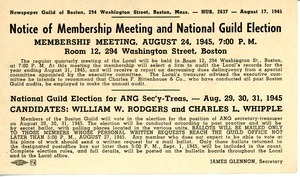 Postcard from Newspaper Guild of Boston to Charles L. Whipple