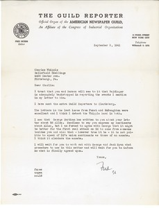 Letter from Fred Myers to Charles L. Whipple