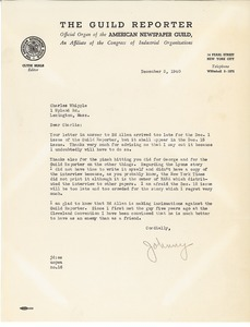 Letter from Johnny Dunn to Charles L. Whipple