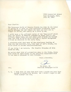 Letter from Edward Allen to Charles L. Whipple