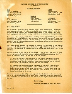 Circular letter from the National Committee to Build the Guild