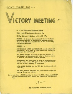 Don't forget the victory meeting