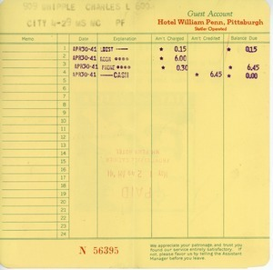 Receipt from Hotel William Penn to Charles L. Whipple
