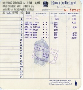 Receipt from Book-Cadillac Hotel to Charles L. Whipple