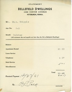 Bellefield Dwellings receipt for apartment rental to Charles L. Whipple