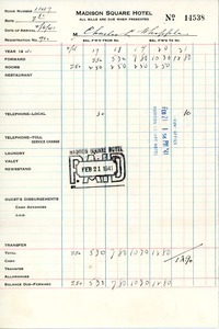 Invoice from Madison Square Hotel to Charles L. Whipple