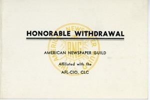 American Newspaper Guild honorable withdrawal for Charles L. Whipple