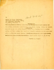 Letter from Charles L. Whipple to Adolph J. Rahm