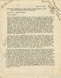 Letter from the Executive Committee, Pacific Coast Branch, American Friends Service Committee to Esther Rhoades