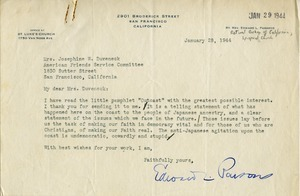 Letter from Edward L. Parsons to Josephine W. Duveneck