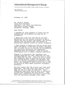 Letter from Mark H. McCormack to David R. Markin