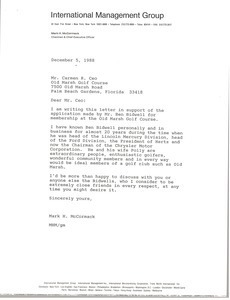 Letter from Mark H. McCormack to Carmen R. Ceo