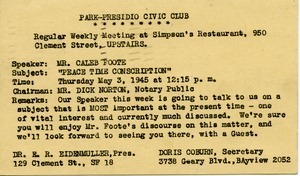 Letter from Park-Presidio Civic Club
