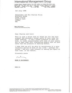 Letter from Mark H. McCormack to Ambassador and Mrs. Charles Price