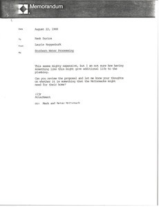 Memorandum from Laurie Roggenburk to Hank Durica