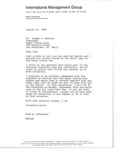 Letter from Mark H. McCormack to Joseph A. Watters