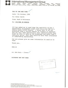 Fax from Mark H. McCormack to Peter Smith