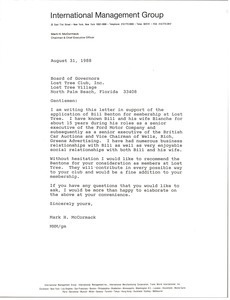 Letter from Mark H. McCormack to Lost Tree Club, Inc.