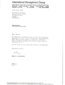 Letter from Mark H. McCormack to Trevor Kennedy