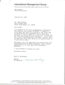 Letter from Mark H. McCormack to Greg Norman