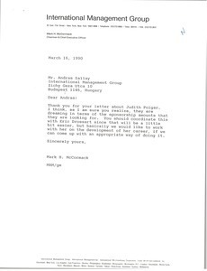 Letter from Mark H. McCormack to Andras Sallay
