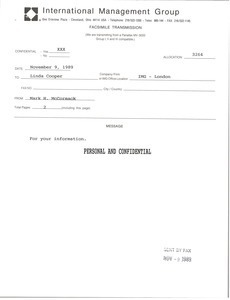 Fax from Mark H. McCormack to Linda Cooper