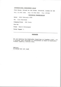 Fax from Mark H. McCormack to Cino Marchese
