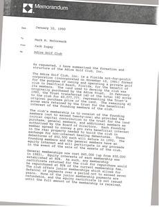 Memorandum from Jack Zugay to Mark H. McCormack