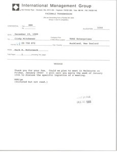 Fax from Mark H. McCormack to Cindy Mitchener