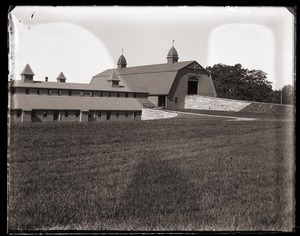 Front view, main barn and cow barn, Massachusetts Agricultural College farm