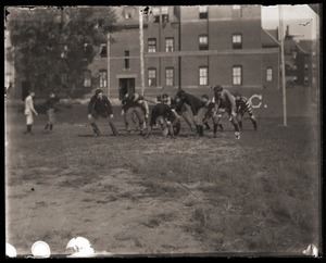 Football practice outside of South College, Massachusetts Agricultural College