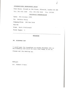 Fax from Mark H. McCoramck to Barbara Perry