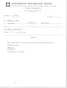 Fax from Mark H. McCormack to Ian Todd