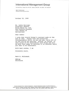 Letter from Mark H. McCormack to Andre Heiniger
