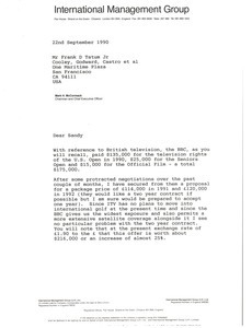 Letter from Mark H. McCoramck to Frank D. Tatum