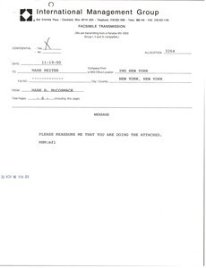 Fax from Mark H. McCormack to Mark Reiter