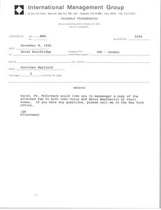 Fax from Gretchen Mayfield to Sarah Wooldridge