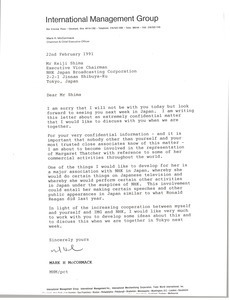 Letter from Mark H. McCormack to Keiji Shima