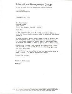 Letter from Mark H. McCormack to Ron Tuckey