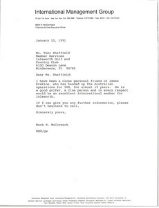 Letter from Mark H. McCormack to Tami Sheffield