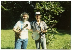 Bill Keith (with banjo) and David Grisman (with mandolin)
