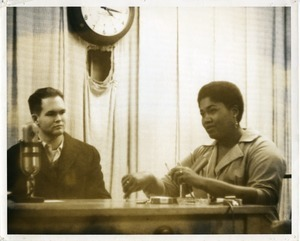 Bill Keith and Odetta, seated at a table, University of Massachusetts Amherst